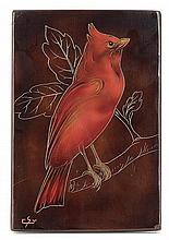 GASTON SUISSE (1896-1989) A lacquered wood panel figuring a bird standing on a branch. Signed with the initials. Sizes?: 8 5/8 x 5 7/8