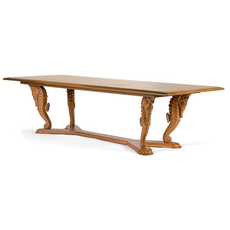 LOUIS SÜE (1875 1968) Grande Table De Milieu En Chêne Clair Cérusé,
