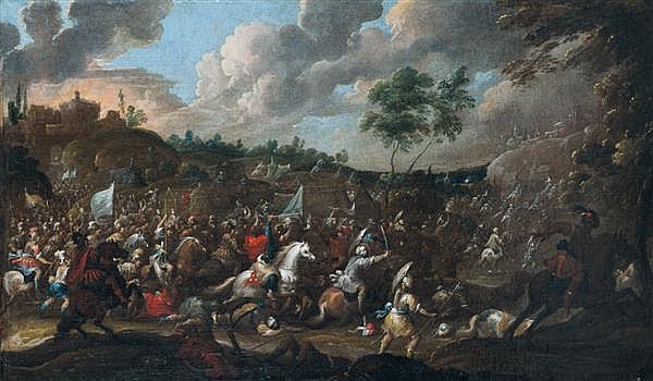 Pauwel CASTEELS (Actif à Anvers au XVIIème siècle) La bataille de Clavijo Toile 60 x 98,5 cm Trace de signature en bas vers la droit...