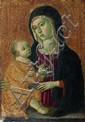 ARTISTE OMBRO-SIENNOIS, XVème siècle La Vierge à l'Enfant Peinture à l'œuf et fond d'or sur panneau de bois tendre, aminci au revers...