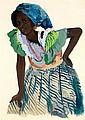 Attribué à Jacques Majorelle (1886-1962) Jeune femme noire Gouache, aquarelle et fusain sur papier 70 x 50 cm
