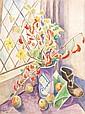 Marie Marevna (1892-1984) Bouquet de fleurs, 1937 Aquarelle sur papier marouflé sur toile Signée et datée en bas à gauche 72,5 x 54 ...