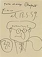 PABLO PICASSO (1881-1973) Portrait, 1959 Encre sur papier Dédicacée