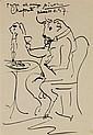 PABLO PICASSO (1881-1973) Taureau attablé, 1957 Encre sur papier Dédicacée