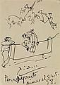 PABLO PICASSO (1881-1973) Scène de corrida,1958 Encre sur papier Dédicacée