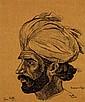 Jean PESKE (1870-1949) Le musulman du Penjab, 1915 Encre sur papier Signée et datée en bas à droite 43 x 36 cm