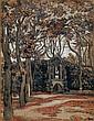 Jean PESKE (1870-1949) La statue dans le jardin Encre et aquarelle sur papier Signée en bas à droite 65 x 50 cm
