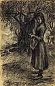 Jean PESKE (1870-1949) La récolte des olives Crayon sur papier Signé en bas à gauche 47 x 31 cm