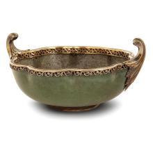AUGUSTE DELAHERCHE (1857-1940) Coupe polylobée en grès, circa 1900, émail vert jaspé, surémaillée à l'intérieur de coulures grises...