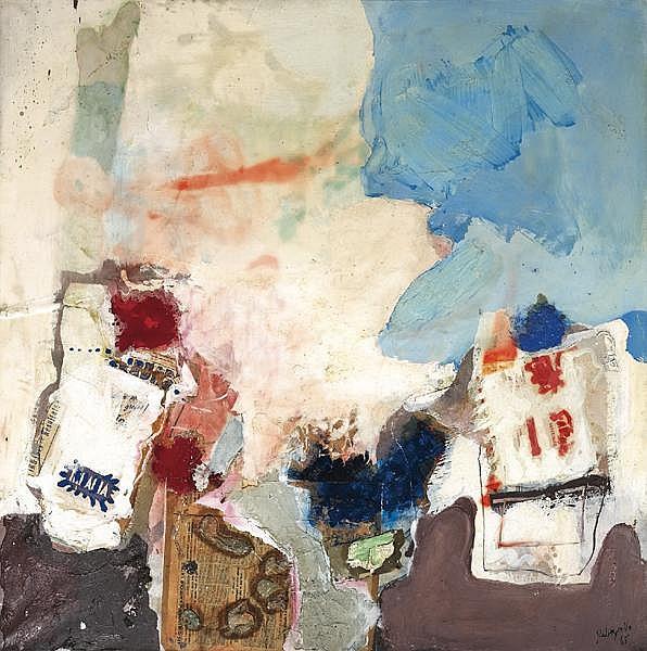 ƒ PAUL REBEYROLLE 1926-2005 Les Instruments du peintre, 1965 Huile, papier, sable et pigments sur toile signée et datée en bas à droite