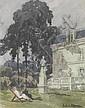 Ludovic Alleaume ( 1859 - 1941) Ensemble de trois gouaches sur papier représentant des paysages (encadrées), Ludovic Alleaume, Click for value