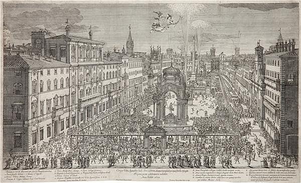 DOMENICO BARRIERE LA PLACE NAVONE, LES RÉJOUISSANCES FAITES PAR LES ESPAGNOLS À ROME POUR L'AN DU JUBILÉ 1650 (R