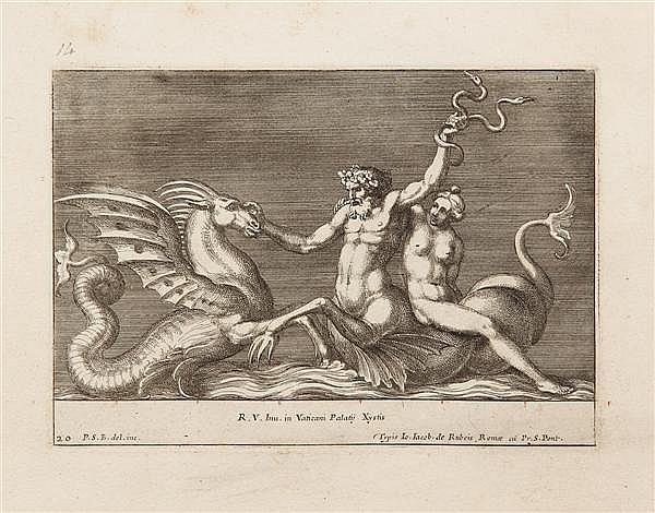 PIETRO SANTO BARTOLI ADMIRANDA ROMANORUM ANTIQUITATUM ac veteris sculpturae vestigia. Série de 43 gravures d'après Raphaël dont titr...
