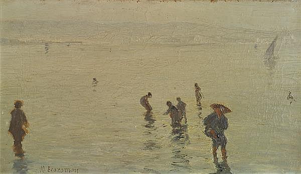 Mihalis Economou (1888-1933) Plage grecque Huile sur toile Signée en bas à gauche 27 x 46 cm