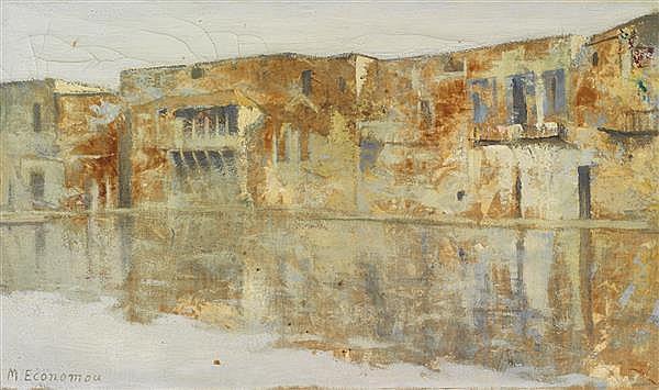Mihalis Economou (1888-1933) Village des Cyclades Huile sur toile Signée en bas à gauche 33 x 55 cm
