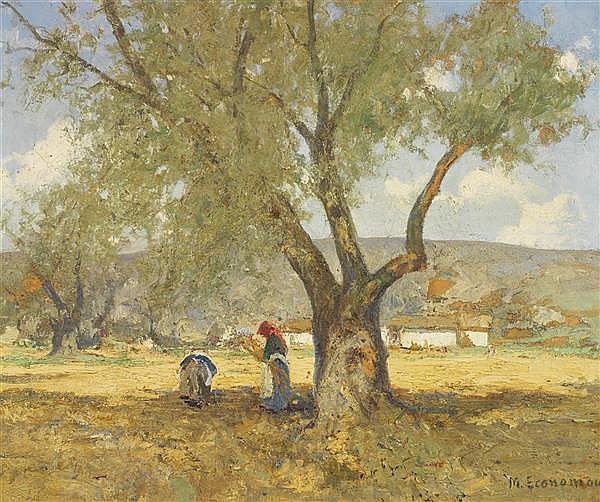Mihalis Economou (1888-1933) La cueillette des olives Huile sur toile Signée en bas à droite 63,5 x 77 cm