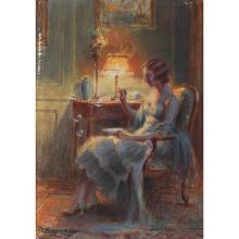 Delphine Enjolras (1857-1945) Femme dans un intérieur