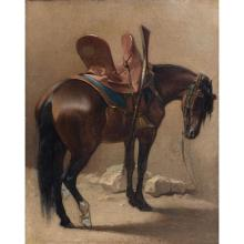 Attribué à Jean-Léon GÉRÔME (vesoul 1924-PARIS 1904) Cheval, étude Sur sa toile d''origine Petites restaurations anciennes Sa...