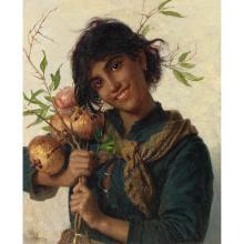 Sophie ANDERSON (née GENGEMBRE à Paris 1823-Falmouth 1903)Jeune fille aux grenades