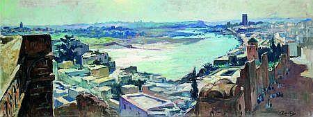 Henry Pontoy (1888-1968) Vue de Rabat Huile sur toile signée en bas à droite. 60 x 150 cm