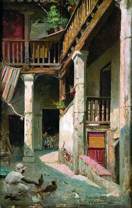 Victoriano Codina y Langlin (1844-1911) École espagnole L''arrière-cour du palais Huile sur panneau, signé et daté. Granada...