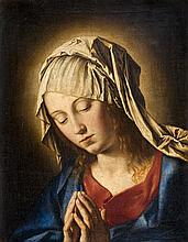 Giovanni Battista SALVI, dit  SASSOFERRATO (Sassoferrato 1609 - Rome 1685)  Vierge aux mains jointes Toile  50,7 x 39,4 cm Au revers...