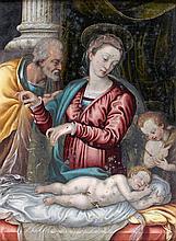 Attribué à Prospero FONTANA (1512-1597) Sainte Famille et saint Jean-Baptiste Cuivre 23 x 17,5 cm Manques Dans un cadre sculpté et d...