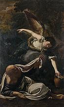 Giovanni Battista BONCORI (Campli 1643 - Rome 1699) Le prophète Elie secouru par un ange Sur sa toile d'origine 198 x 120 cm Restaur...