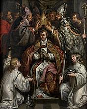 Attribué à Francesco HERRERA Le Jeune (1622- 1685) L'Intronisation d'un Evêque Toile 105 x 138 cm