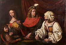 École ITALIENNE vers 1700 La pesée des cheveux Toile 111,5 x 158,5 cm Restaurations, soulèvements et petits manques