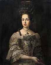 Ecole ESPAGNOLE du XVIIème siècle Portrait de dame de qualité Toile 87 x 72,5 cm Restaurations et manques