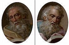Attribué à Benedetto LUTI (1666 – 1724) Têtes d'hommes Paire de cuivres ovales 25 x 19 cm