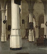 Hendrick Cornelisz Van VLIET (Delft 1611 – 1675)  Vue de l'intérieur de la Oude Kerk à Delft Panneau de chêne, une planche, non parq...