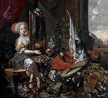 Attribué à Christian THUM (1625 – 1696) Vanité Sur sa toile d'origine 119,7 x 107,5 cm