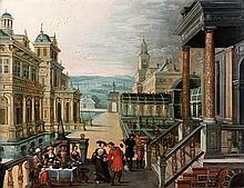 Attribué à Hendrick III Van CLEVE (1525-1589) et à Louis de CAULLERY (vers 1594-1620) Elégants personnages attablés sous les arcatur...