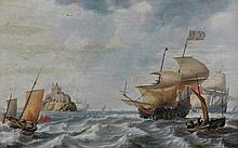 Bonaventura PEETERS (Anvers 1614 – Hoboken 1652) Vaisseaux le long d'un château sur un îlot entouré de dauphins Panneau de chêne, pa...