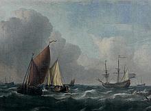Attribué à Ludolf BACKHUIZEN (1630 – 1708) Marine par temps calme Toile 76 x 106 cm Restaurations