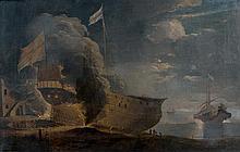 École HOLLANDAISE du XVIIIème siècle, suiveur d'Adrian Van der KABEL Calfatage d'un navire Toile 60 x 94 cm Restaurations et petits ...