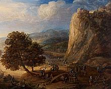 Hermann SAFTLEVEN (Rotterdam 1609- Utrecht 1685) Paysage de la vallée du Rhin Panneau de chêne, une planche, non parqueté 25 x 31,5 ...
