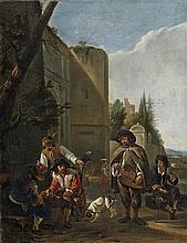 Hendrick VERSHURING (Gorkum ou Gorinchem 1627 – Près de Dordrecht 1690)  Le joueur de vielle devant l'entrée d'une ville Toile  59 x...