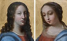 École FRANCAISE vers 1650, entourage de Jacques STELLA Le Christ, fond d'or La Vierge, fond d'or Paire de cuivres 16 x 13 cm Dans de...