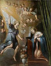 Pierre LE DART (Actif en France au XVIIIème siècle) L'Annonciation entourée d'anges Toile, rognée sur les côtés 147 x 115,5 cm Resta...