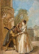 Attribué à Charles PARROCEL (1688 – 1752) Le joueur de guitare séduisant une compagnie de dames Papier marouflé sur toile 23,5 x 17,...