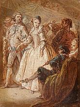 Attribué à Charles PARROCEL (1688 – 1752) Scène de bal Papier marouflé sur toile 23,5 x 17,5 cm Manque