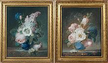 Jean-Jacques PREVOST dit PREVOST l'aîné (Nointel 1735 – Paris vers 1782) Bouquet de fleurs sur un entablement de marbre Bouquet de f...