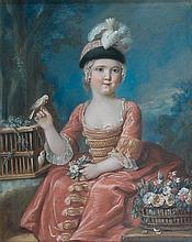 École FRANÇAISE du XVIIIème siècle, entourage de François Hubert DROUAIS Enfant tenant un oiseau à côté d'une corbeille de fleurs Pa...