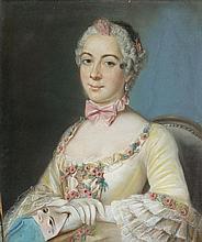 Attribué à Pierre ALLAIS (actif à Paris au XVIIIème siècle) Portrait de dame de qualité tenant un masque Pastel 65 x 54,5 cm Dans un...