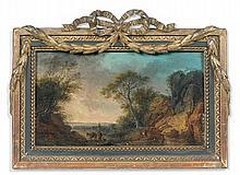 Simon Mathurin LANTARA (Oncy 1729 – Paris 1778) Paysage Panneau de chêne, une planche, non parqueté 14 x 23,5 cm Inscription au reve...