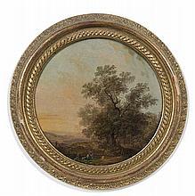 Attribué à Louis-Gabriel MOREAU dit l'aîné (Paris 1740 – 1806) Paysage animé de lavandières devant un arbre Panneau préparé, une pla...
