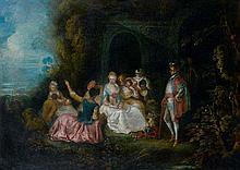 Attribué à Pierre-Antoine QUILLARD (1700 – 1733) élégante Assemblée dans un jardin devant un palais Toile 83 x 117 cm Restaurations